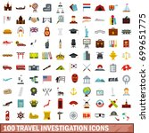 100 travel investigation icons... | Shutterstock .eps vector #699651775