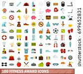 100 fitness award icons set in... | Shutterstock .eps vector #699652831
