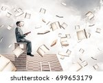 young businessman sitting on...   Shutterstock . vector #699653179