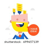 happy businessman with a light... | Shutterstock .eps vector #699657139