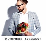portrait of handsome fashion... | Shutterstock . vector #699660094