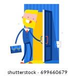 happy businessman walks into... | Shutterstock .eps vector #699660679