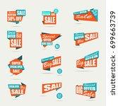 set of sale banners. orange... | Shutterstock .eps vector #699663739