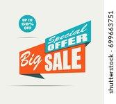 big sale banner. orange... | Shutterstock .eps vector #699663751