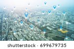 city with connection line... | Shutterstock . vector #699679735