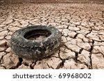An Old Tyre In A Desert Zone In ...