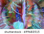 Small photo of Abstract of zoom in or zoom out long exposure a colorful ribbon.
