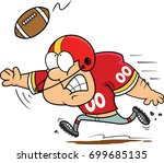 Illustration of a football player catching a football.  - stock vector