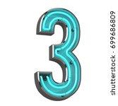 3d neon number three | Shutterstock . vector #699686809