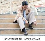 businessman wears shoes. tie... | Shutterstock . vector #699689125