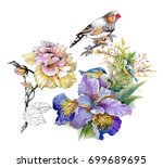 Stock photo watercolor colorful flowers and birds pattern on white background 699689695