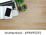 mock up   wood modern work... | Shutterstock . vector #699695251