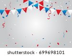 red and blue white confetti and ... | Shutterstock .eps vector #699698101