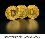 golden bitcoin on black... | Shutterstock . vector #699706999