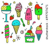 hand drawn set of doodle with... | Shutterstock .eps vector #699707671