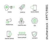 modern flat thin line icon set... | Shutterstock .eps vector #699719881