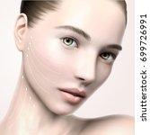 beautiful model face portrait ... | Shutterstock .eps vector #699726991