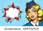 stewardess airplane travel... | Shutterstock .eps vector #699732919