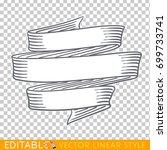 banners ribbons. editable line... | Shutterstock .eps vector #699733741