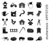 village farm objects in black... | Shutterstock .eps vector #699737155