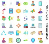 economy recession icons set.... | Shutterstock .eps vector #699743407