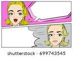 pop of cartoon woman with... | Shutterstock .eps vector #699743545