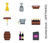 wine icon set. flat set of 9...   Shutterstock .eps vector #699744901