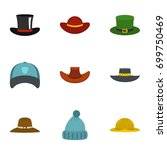hat icon set. flat set of 9 hat ... | Shutterstock .eps vector #699750469
