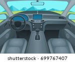 inside car or auto interior... | Shutterstock .eps vector #699767407