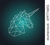geometric unicorn head. side... | Shutterstock .eps vector #699776851
