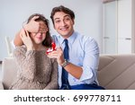 romantic concept with man... | Shutterstock . vector #699778711