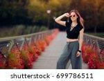 fashionable woman in turkish...   Shutterstock . vector #699786511