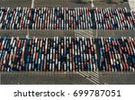 aerial of shipping containers ... | Shutterstock . vector #699787051