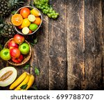 many different fruits . on a... | Shutterstock . vector #699788707