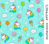cute unicorn  balloon  ice... | Shutterstock .eps vector #699794671