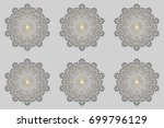 xmas frost snow flake isolated... | Shutterstock . vector #699796129