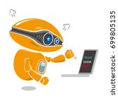 orange robot get impatient at... | Shutterstock .eps vector #699805135