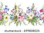seamless rim. border with herbs ... | Shutterstock . vector #699808024