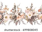seamless rim. border with herbs ... | Shutterstock . vector #699808045