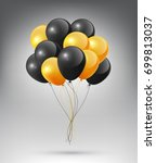 flying realistic glossy black... | Shutterstock .eps vector #699813037