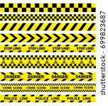 black and yellow police stripe... | Shutterstock .eps vector #699823687
