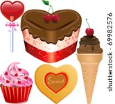 raster version Illustration of five different Valentine Sweets. - stock photo