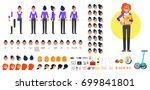 vector flat style businesswoman ... | Shutterstock .eps vector #699841801