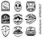 set of canoeing badges isolated ... | Shutterstock .eps vector #699843817