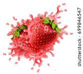 realistic strawberries with... | Shutterstock . vector #699846547