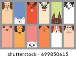 Stock vector set of funny dogs and puppies characters card vector illustration 699850615
