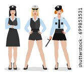 police women in sexy uniform.... | Shutterstock .eps vector #699853531