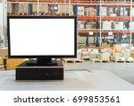 computer with blank screen on... | Shutterstock . vector #699853561