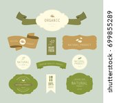 set of natural label and... | Shutterstock .eps vector #699855289