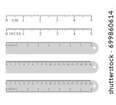 metal grey measuring rulers set ... | Shutterstock .eps vector #699860614